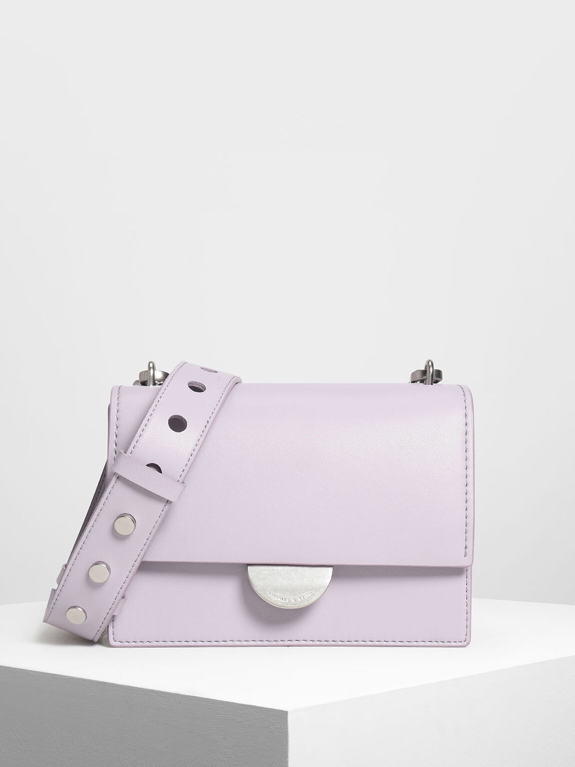Metallic Accent Push Lock Bag, Lilac, hi-res