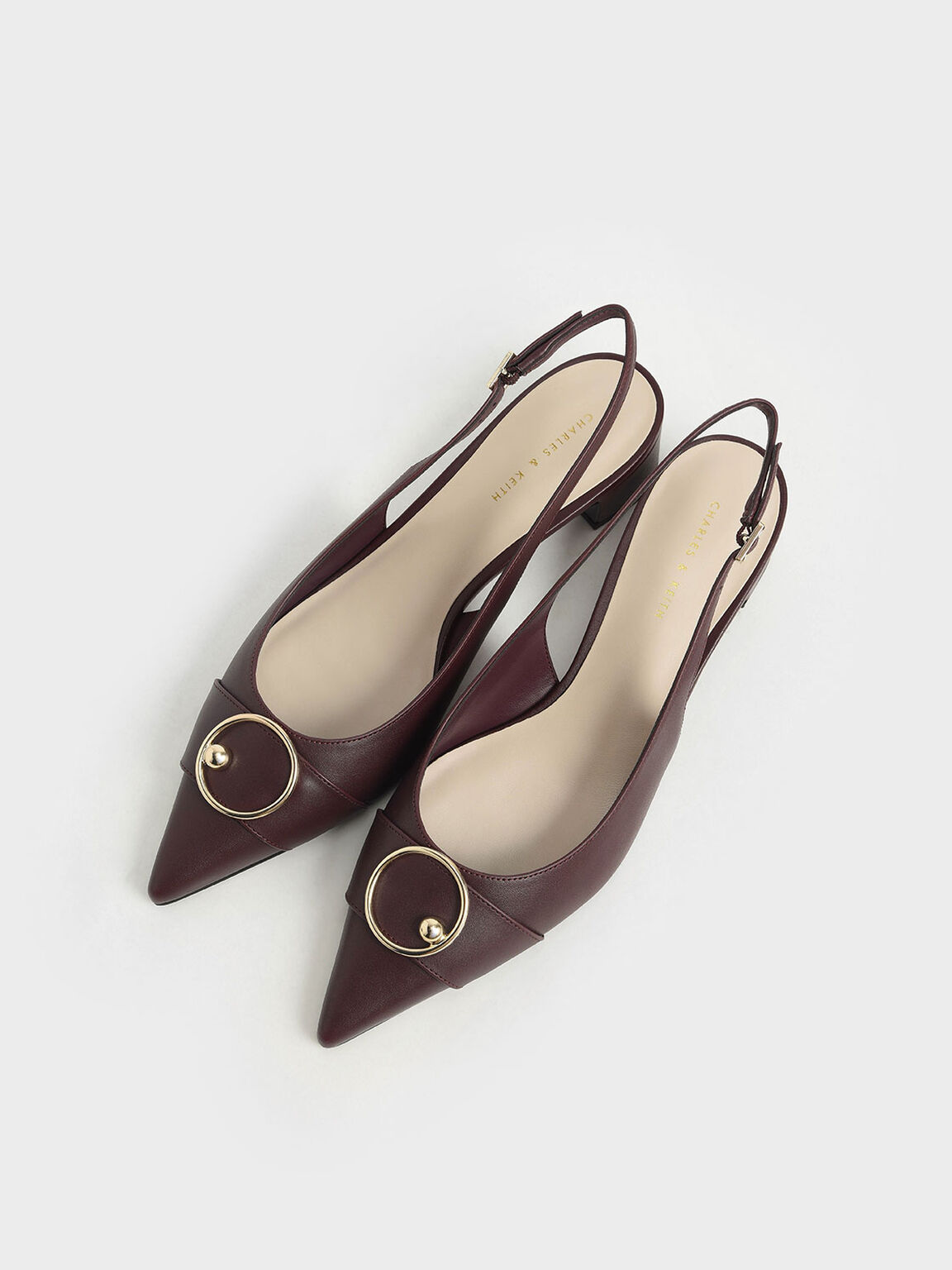 Ring Embellished Slingback Pumps, Burgundy, hi-res
