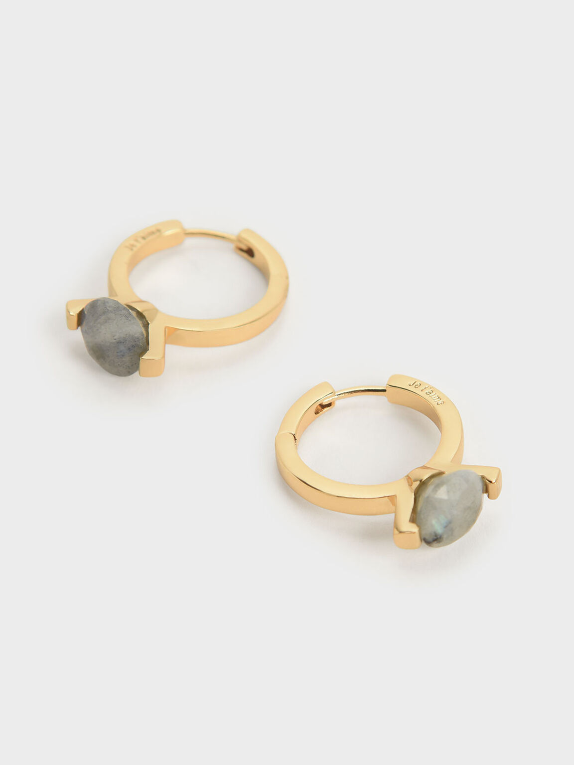 Labradorite Stone Huggie Hoop Earrings, Gold, hi-res