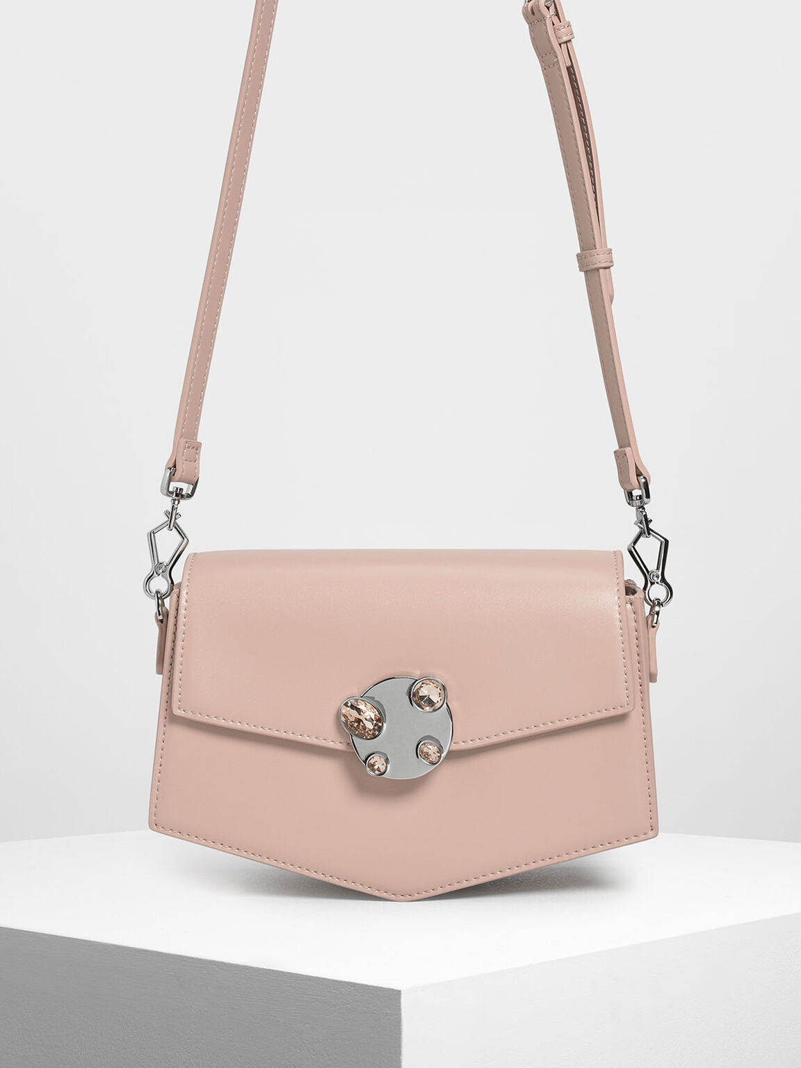 Embellished Push Lock Bag, Nude, hi-res