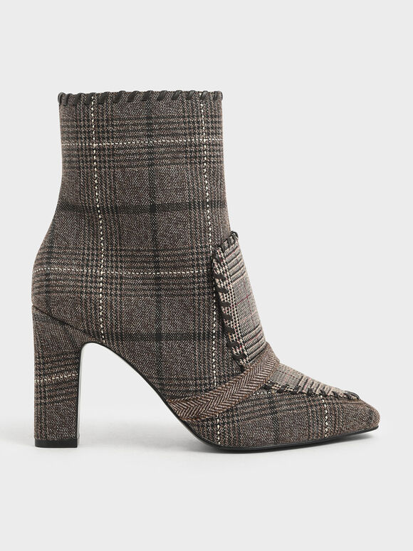 Tweed Whipstitch Trim Calf Boots, Multi, hi-res