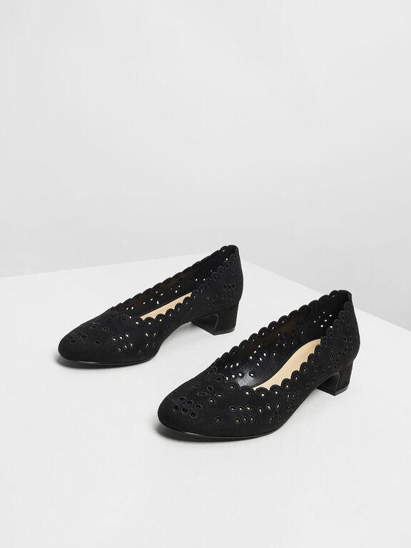 Scalloped Low Block Heel Pumps, Black