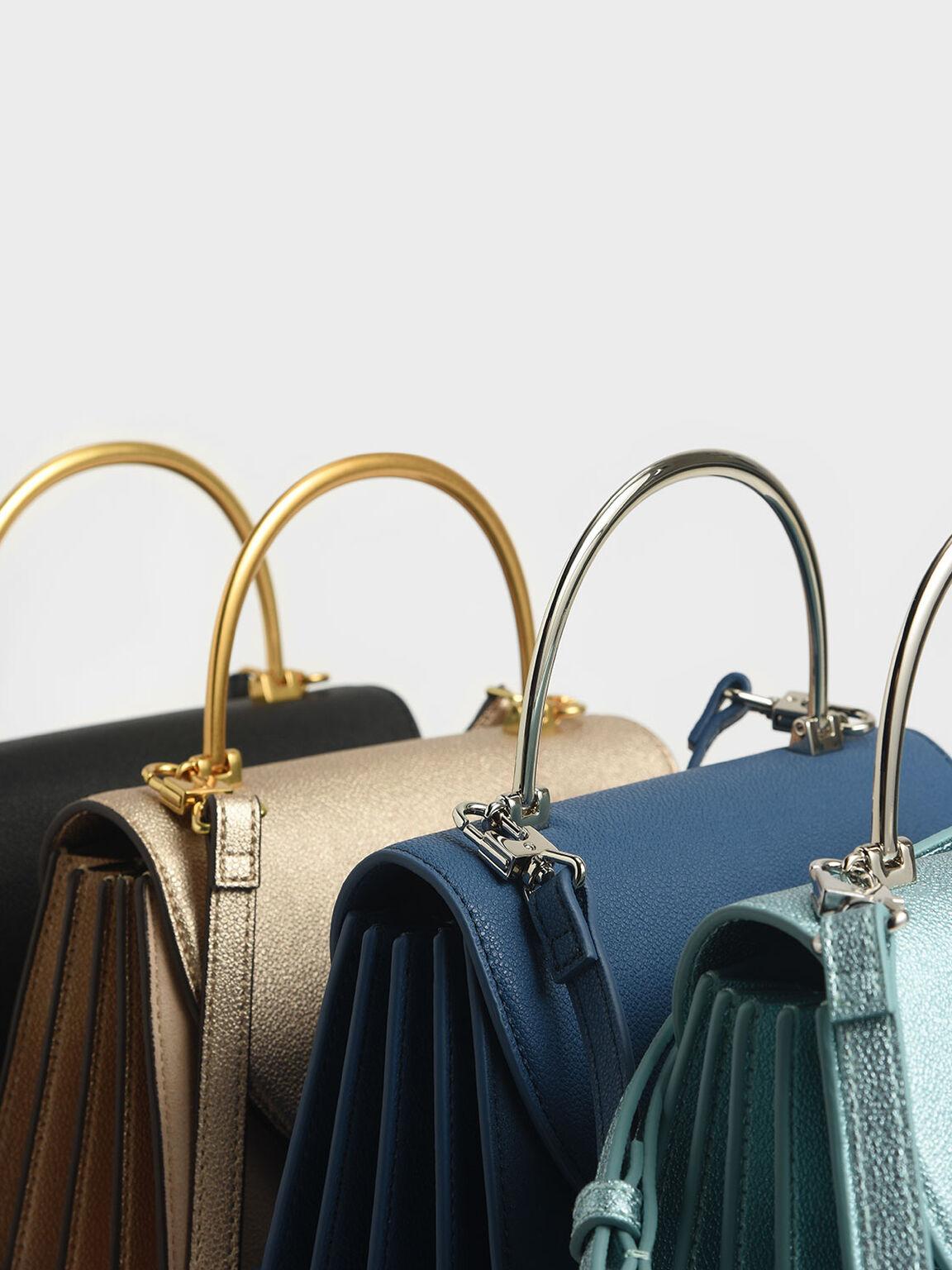 Textured Metal Top Handle Bag, Black, hi-res