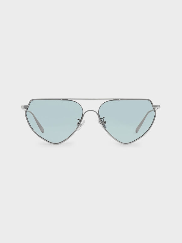 Thin Metal Frame Geometric Sunglasses, Blue, hi-res
