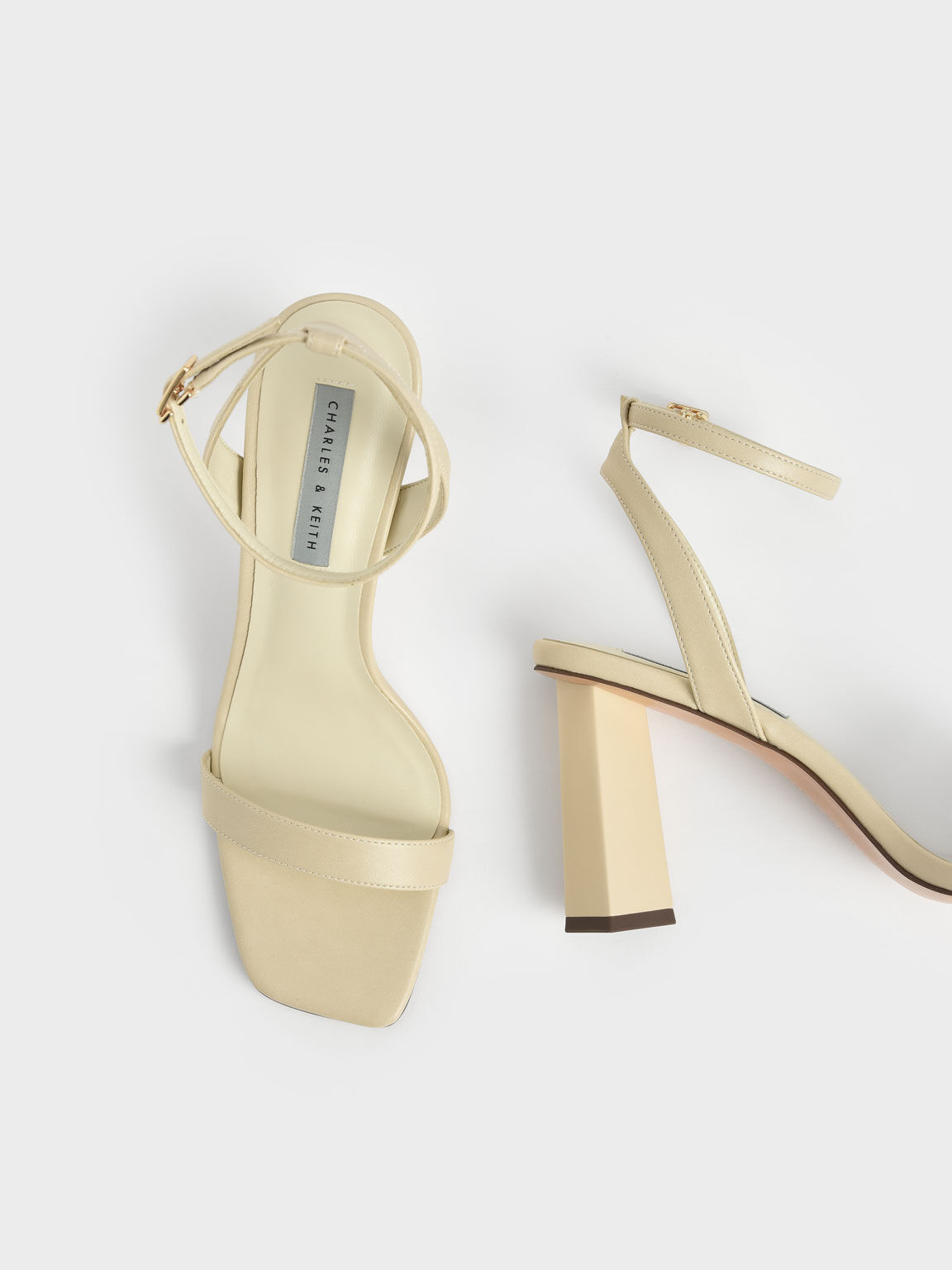 一字帶高跟涼鞋, 石灰白, hi-res