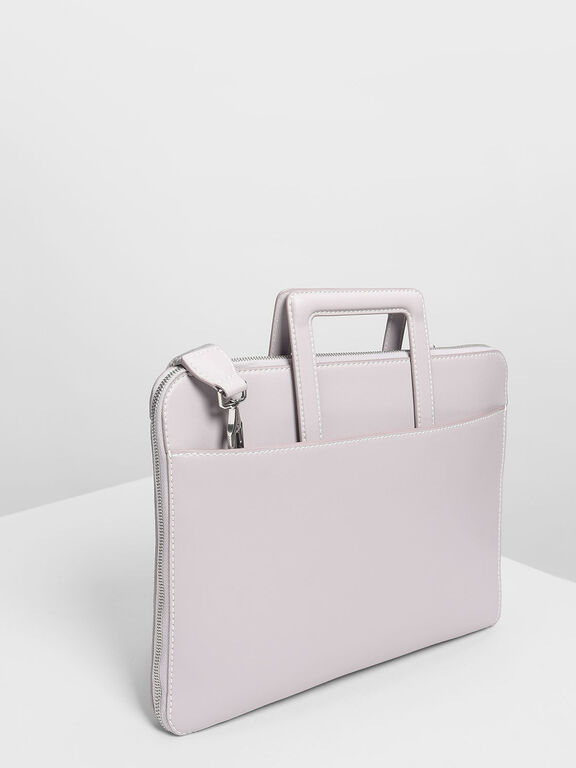 Stud Detail Laptop Bag, Lilac