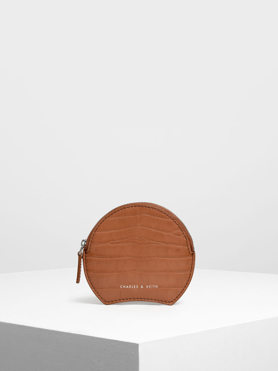 Semi Circle Croc-Effect Mini Pouch, Tan, hi-res