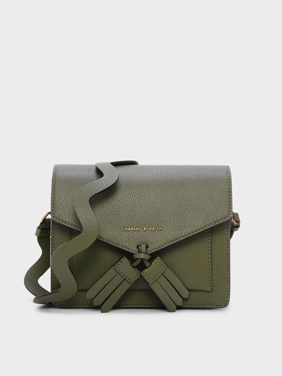 Tassel Detail Crossbody Bag, Green, hi-res