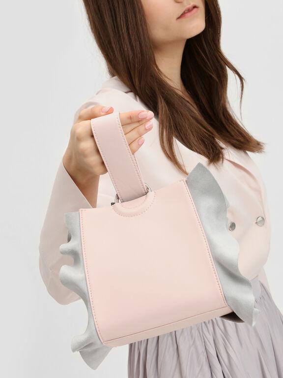 Ruffle Detail Wristlet Handle Bag, Pink