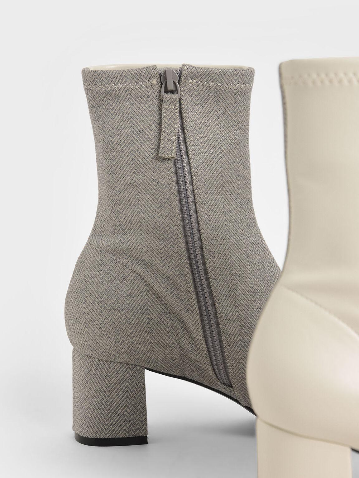 拼接粗跟短靴, 淺灰色, hi-res
