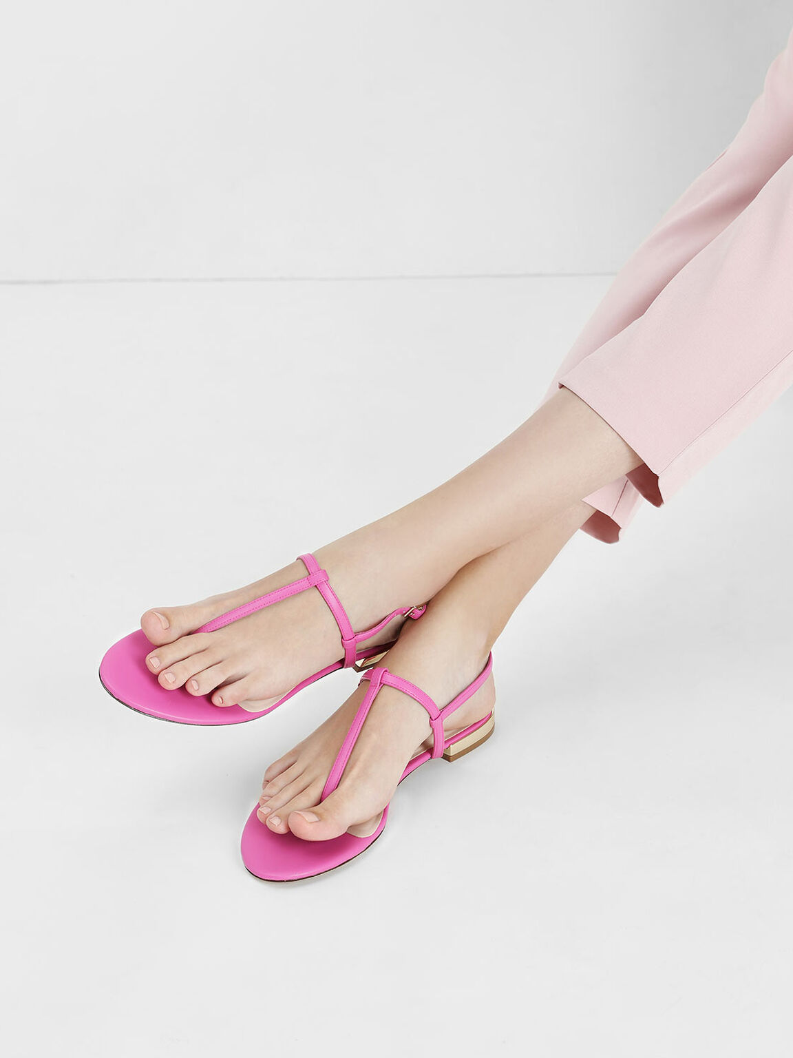 Gold Mini Heel T-bar Sandals, Fuchsia, hi-res