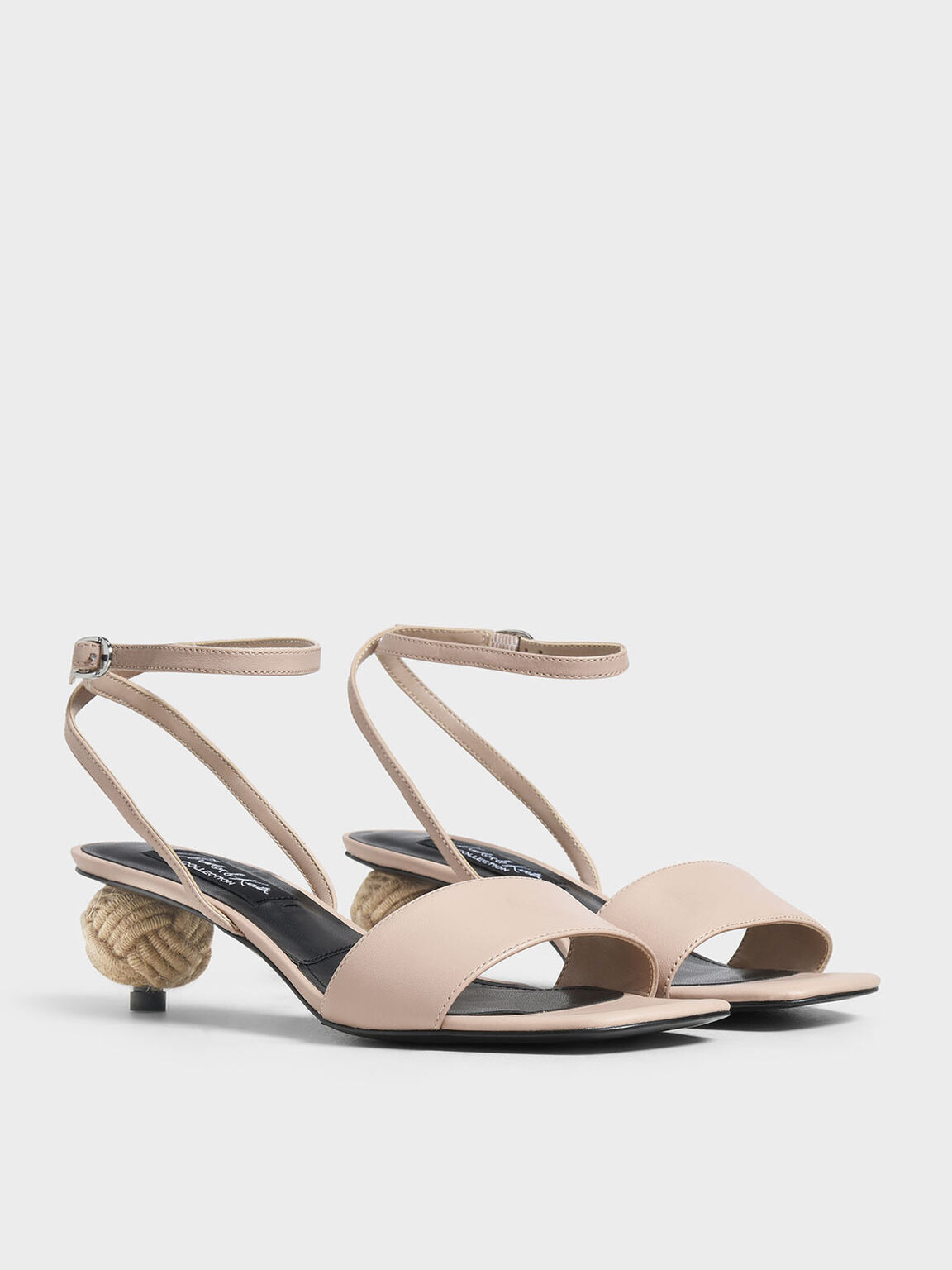 Spherical Heel Leather Sandals, Nude, hi-res