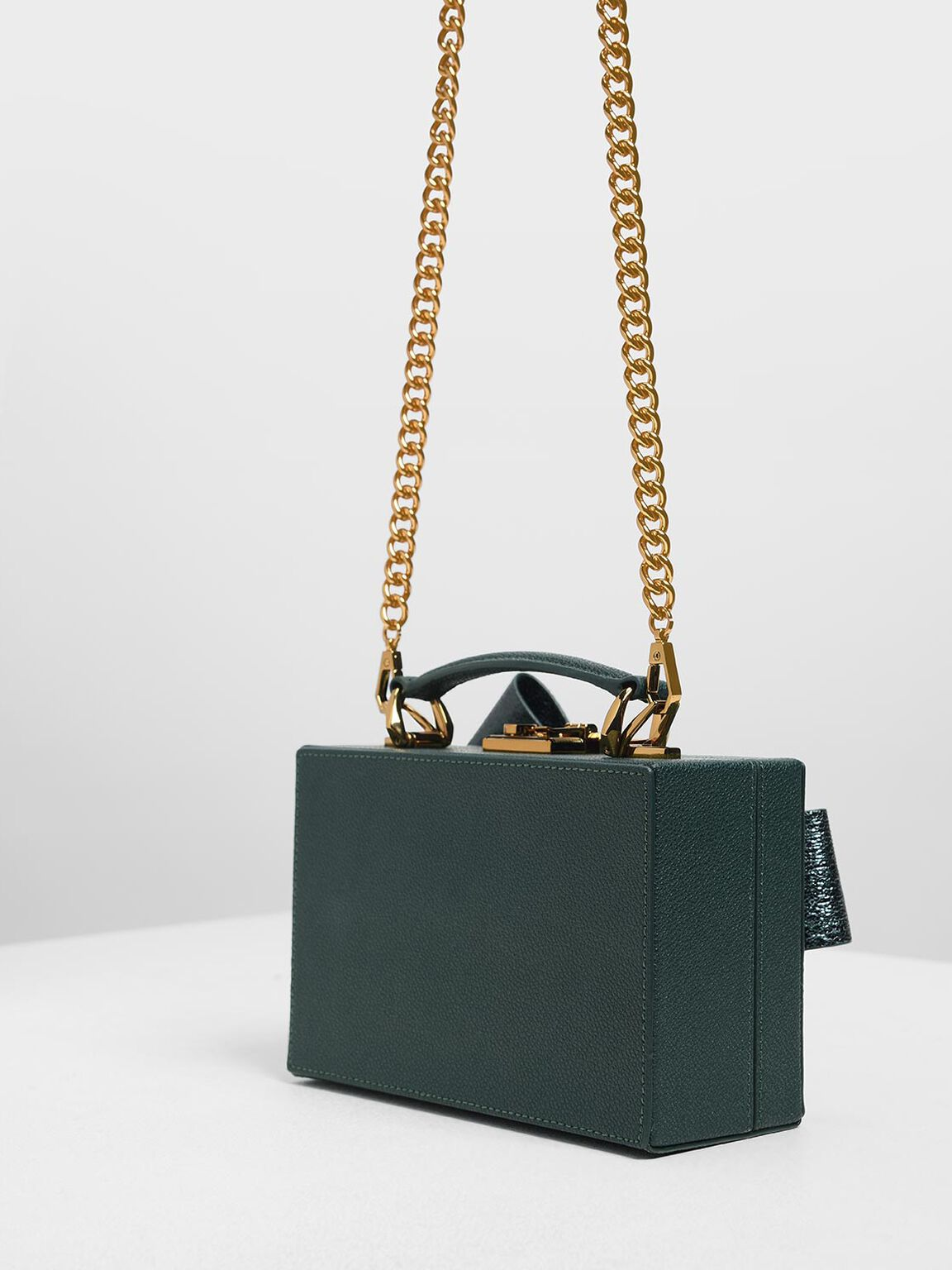Metallic Ribbon Top Handle Bag, Green, hi-res