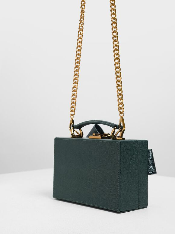 Metallic Ribbon Top Handle Bag, Green, hi-res