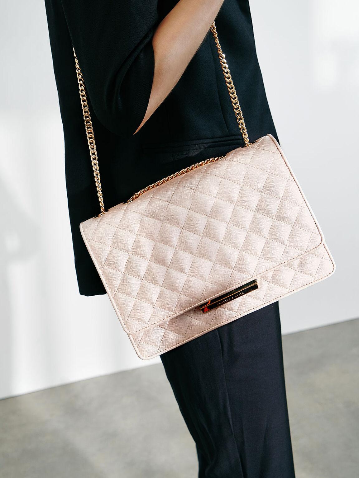 Quilted Shoulder Bag, Pearl, hi-res