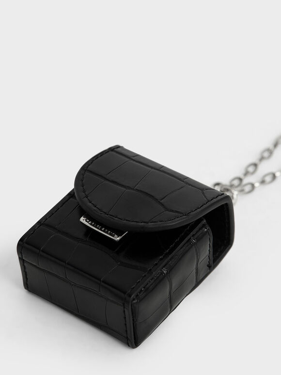 Airpod鱷魚紋保護套項鍊, 黑色, hi-res