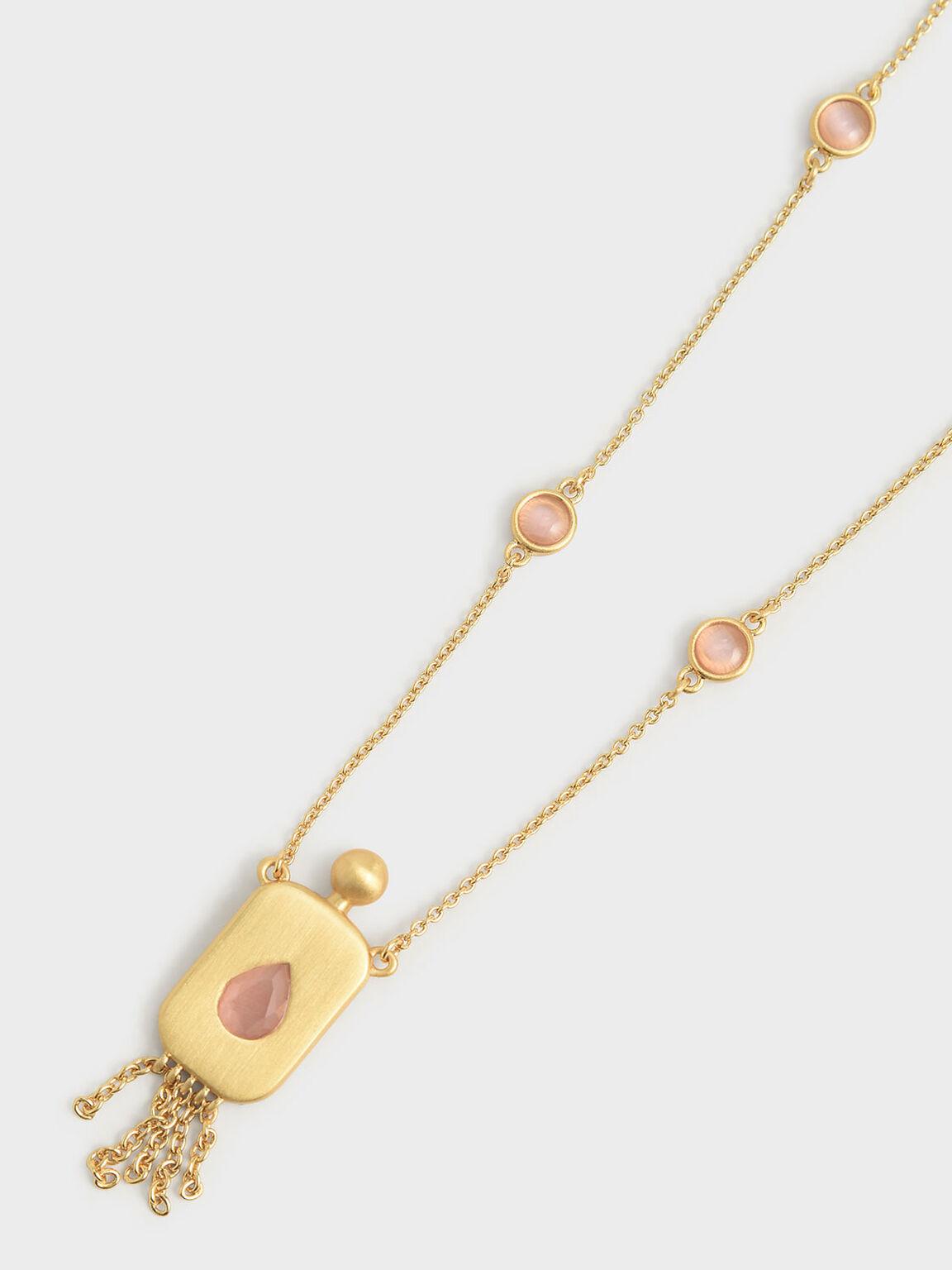 Rose Quartz Princess Necklace, Brush Gold, hi-res
