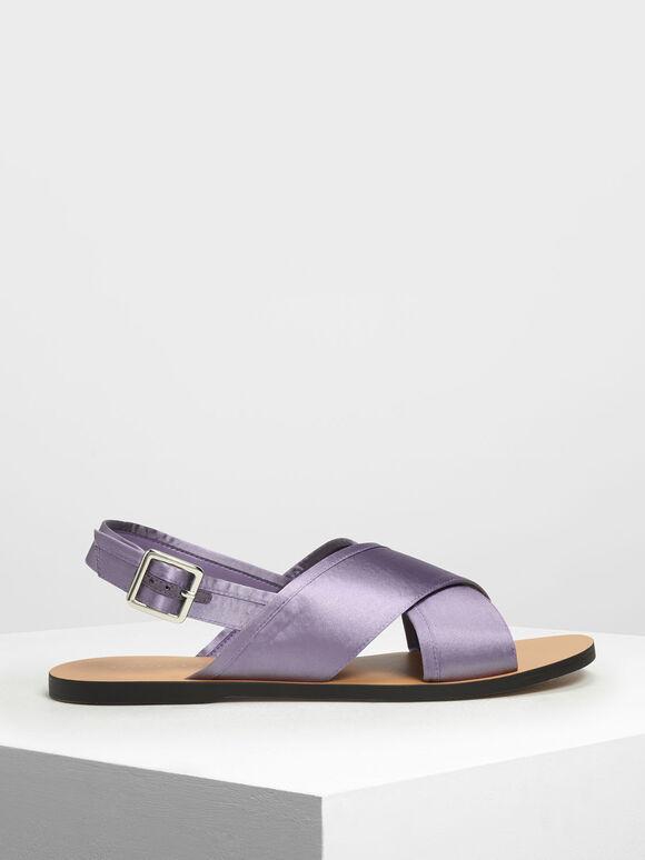 Satin Criss Cross Sandals, Purple, hi-res