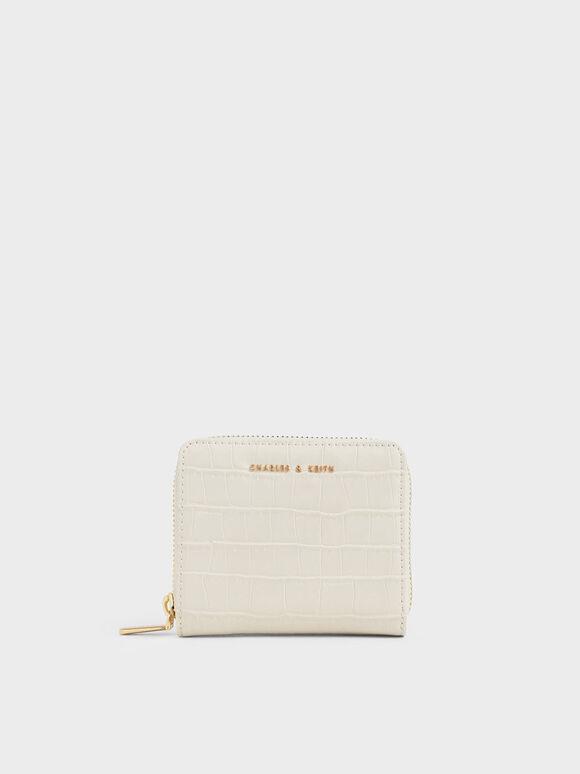 Croc-Effect Small Zip-Around Wallet, Cream, hi-res