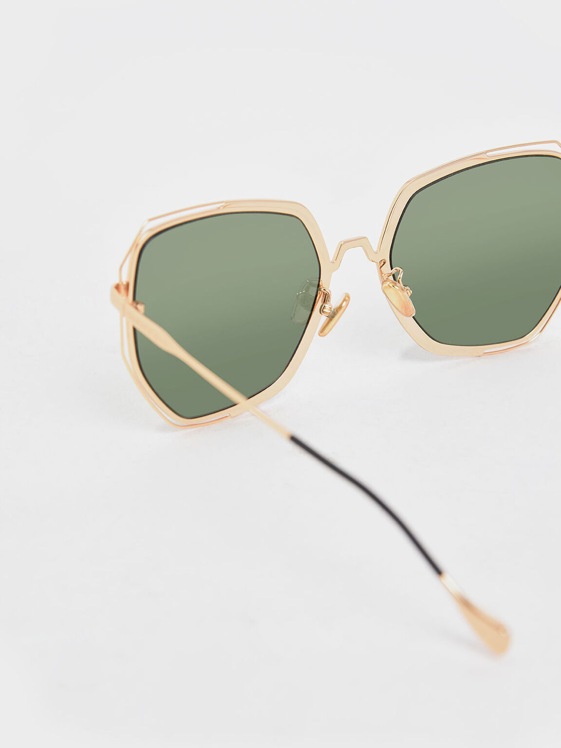 Two-Tone Butterfly Sunglasses, Green, hi-res