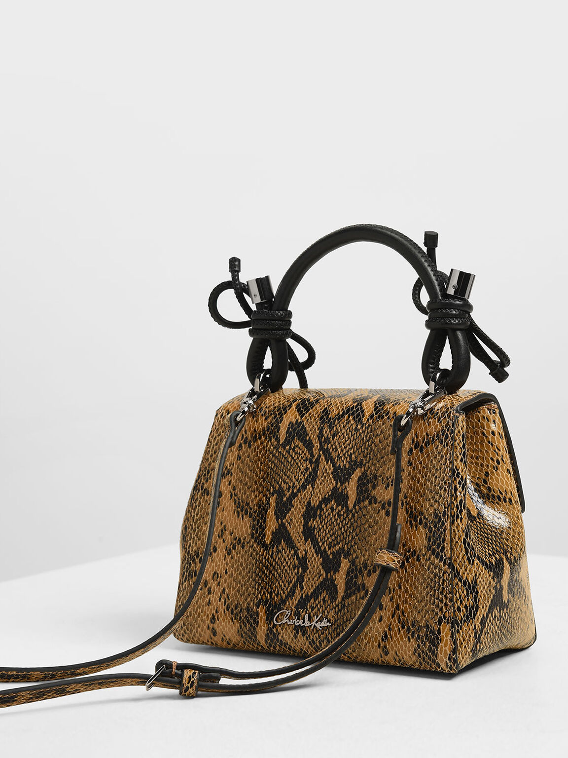 Double Bow Leather Top Handle Snake Print Bag, Multi, hi-res