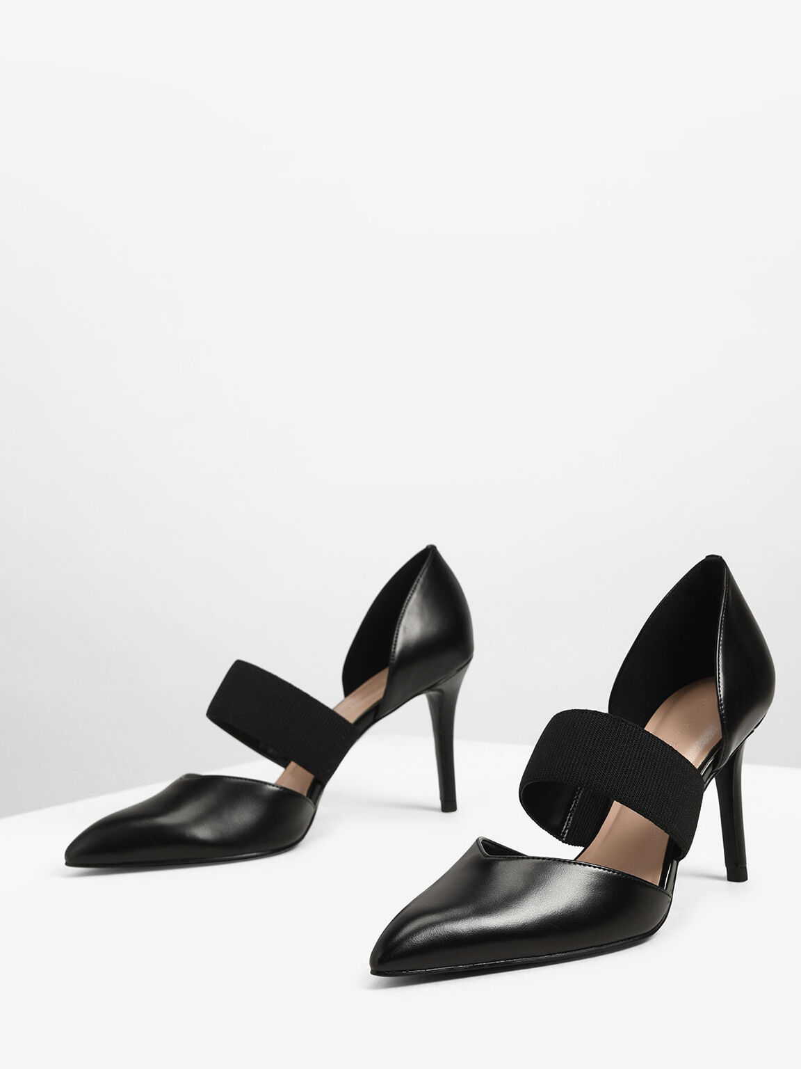 Ribbed Strap Pumps, Black, hi-res
