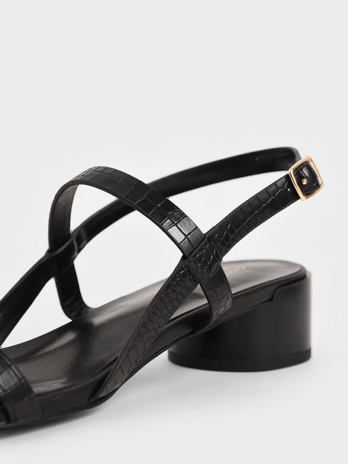 애니멀 프린트 스트래피 힐 샌들, Animal Print Black, hi-res