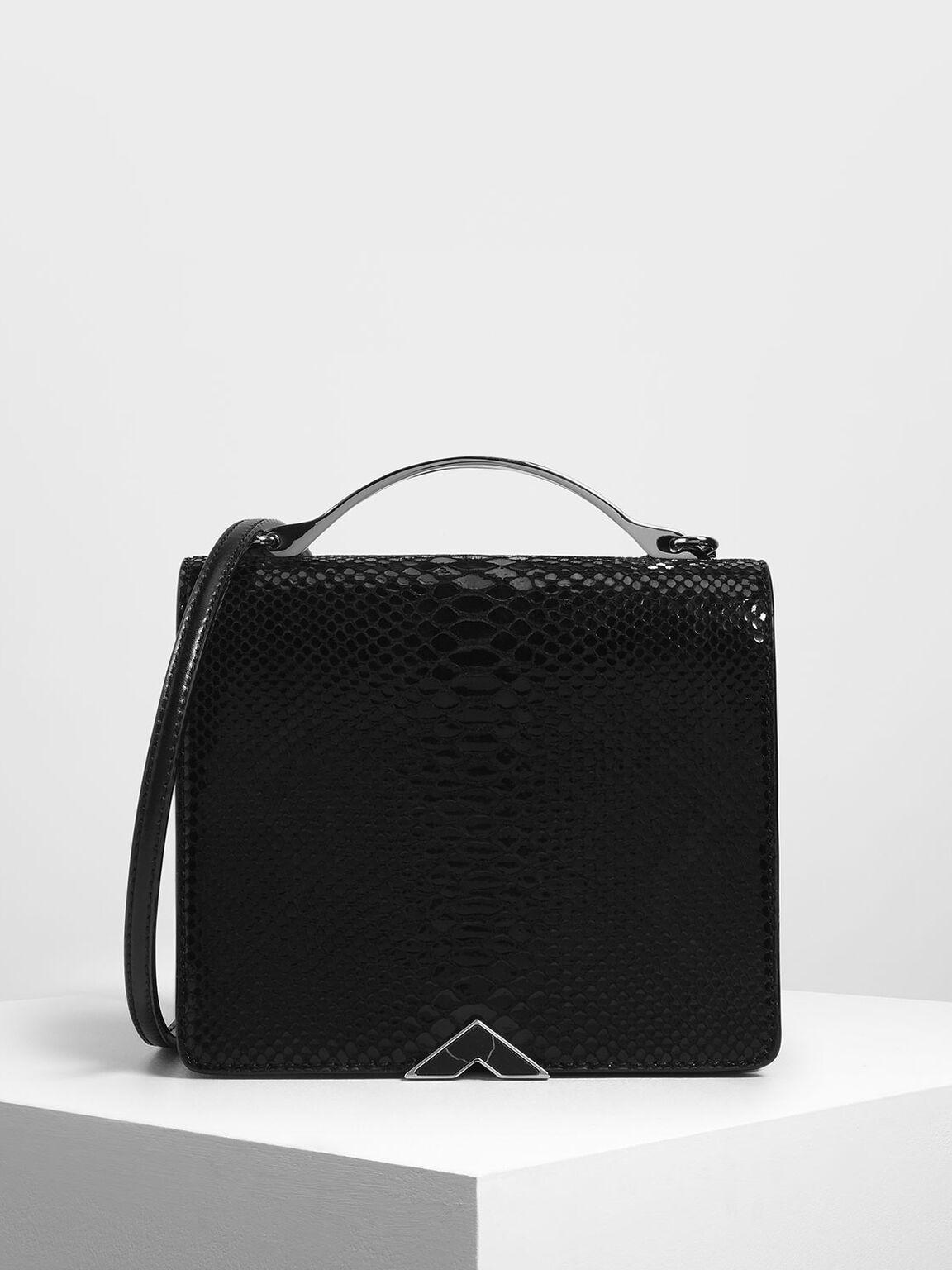 Snake Print Top Handle Bag, Black, hi-res