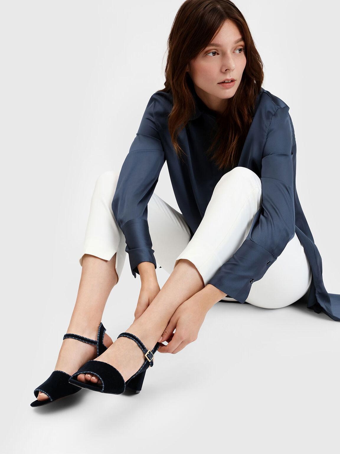 Classic Block Heel Sandals, Dark Blue, hi-res
