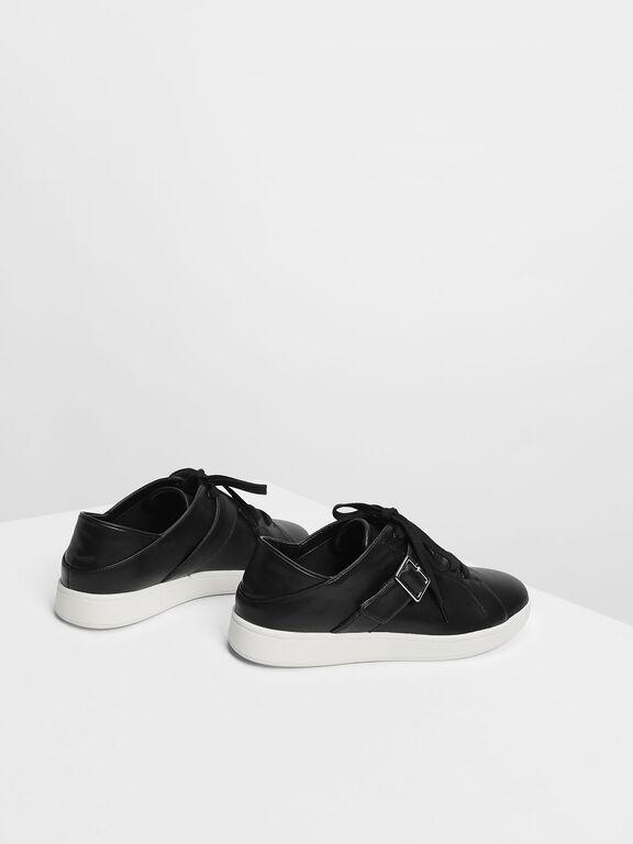 Metal Buckle Sneakers, Black, hi-res
