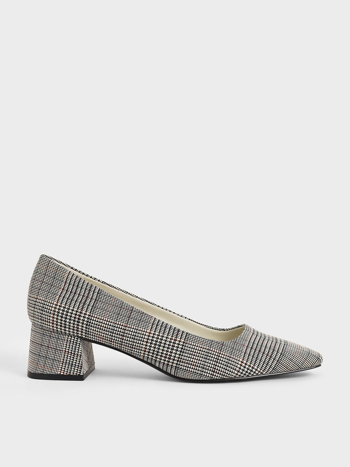 Check Print Square Toe Block Heel Pumps, Light Grey, hi-res