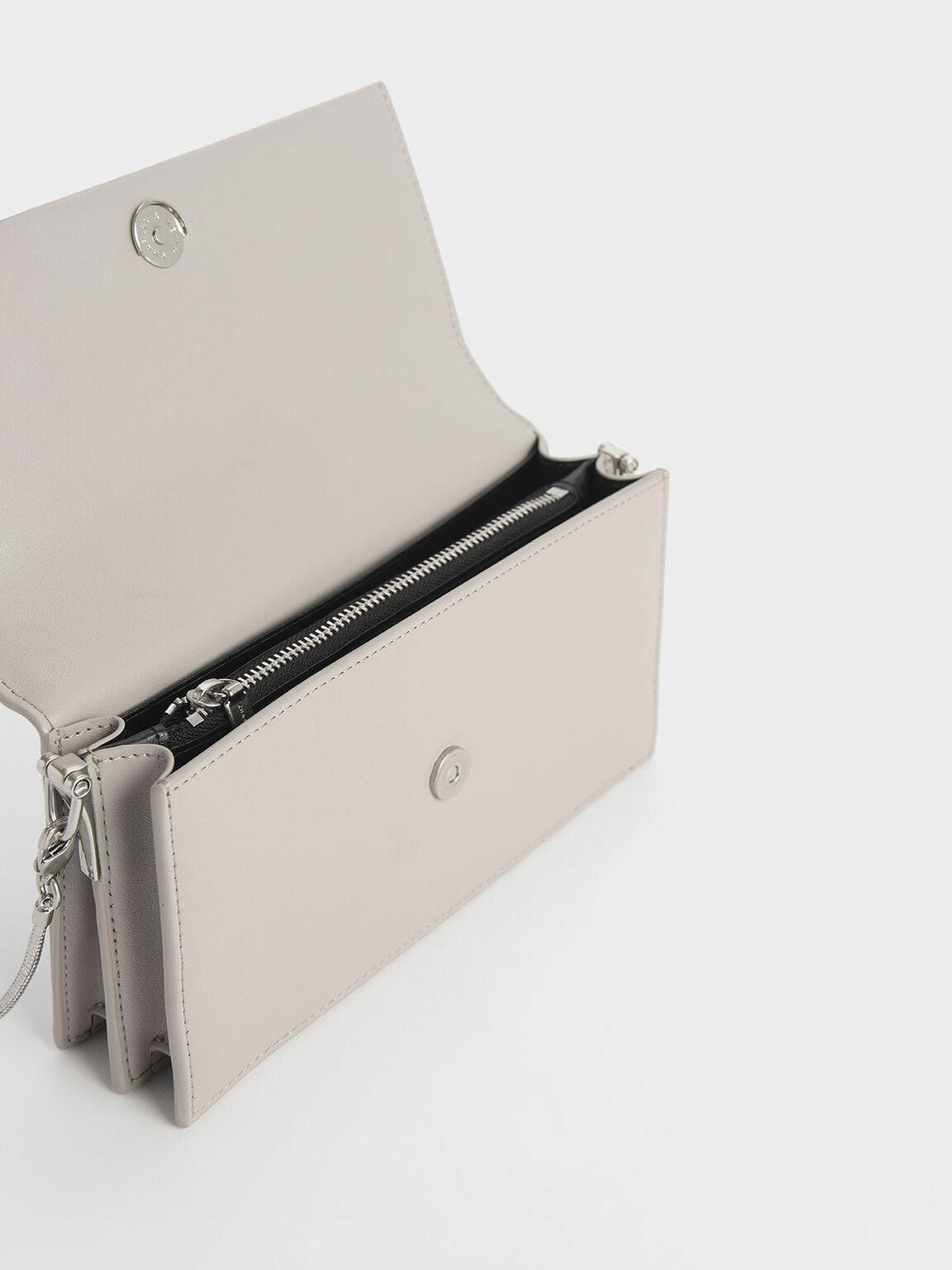 Demi Metal Top Handle Long Wallet, Grey, hi-res