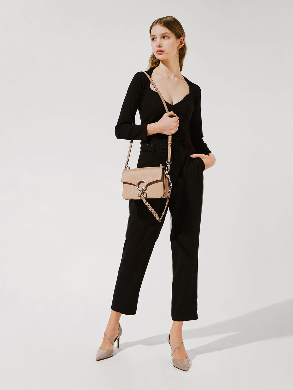 Textured Turn-Lock Shoulder Bag, Beige, hi-res