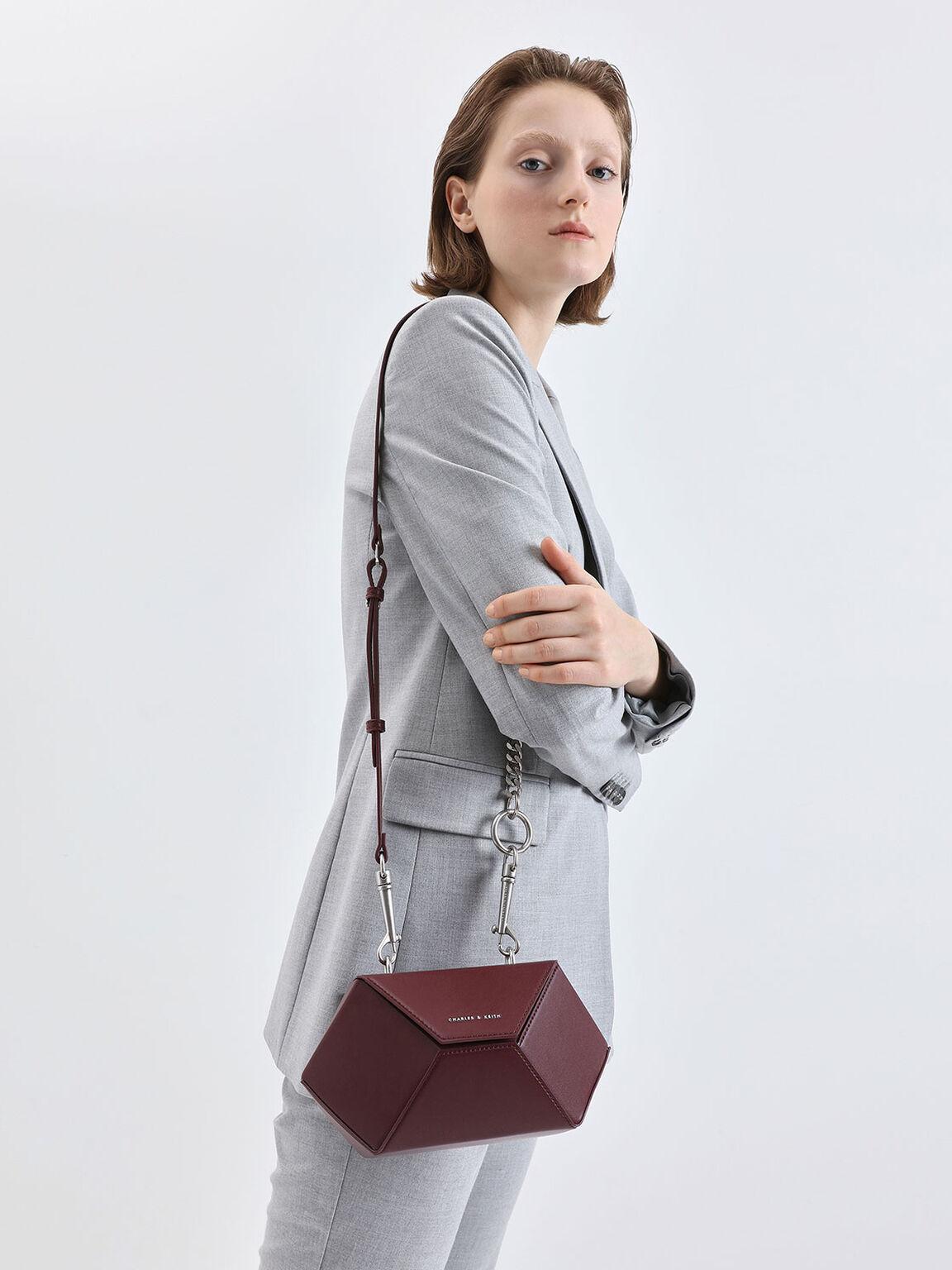 六角形手提包, 酒紅色, hi-res
