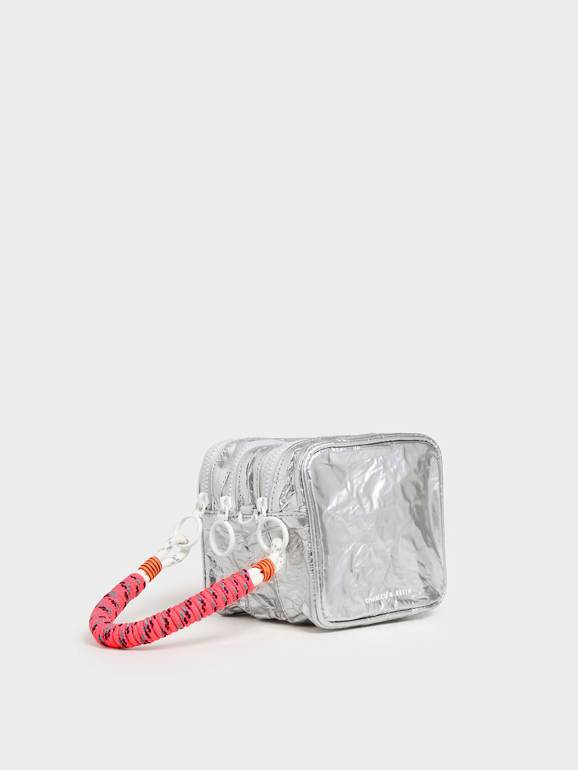 Crumpled Effect Zipper Pouch, Silver, hi-res
