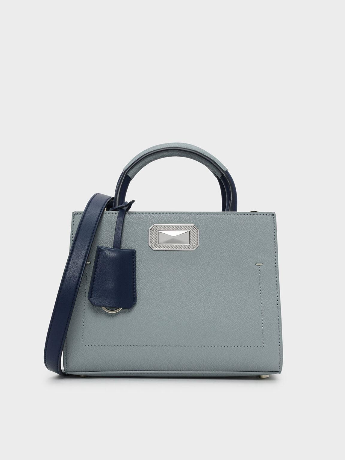 撞色手提包, 岩藍色, hi-res