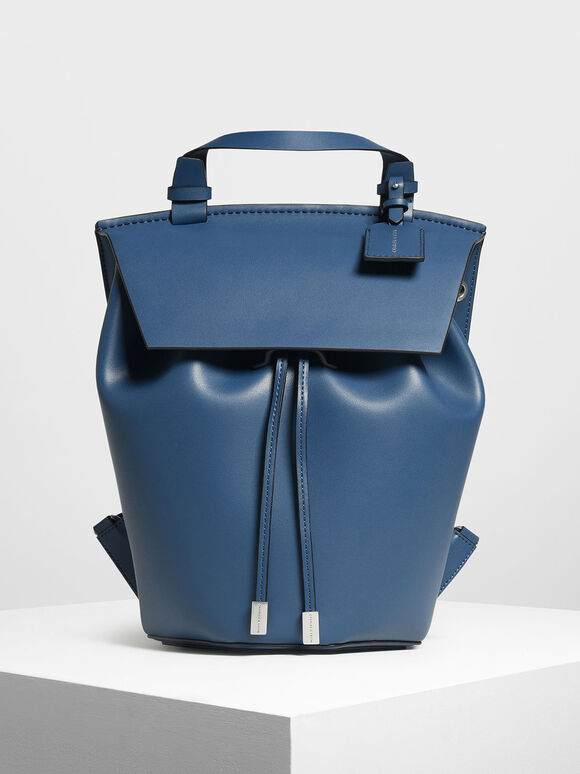 Classic Drawstring Backpack, Blue, hi-res