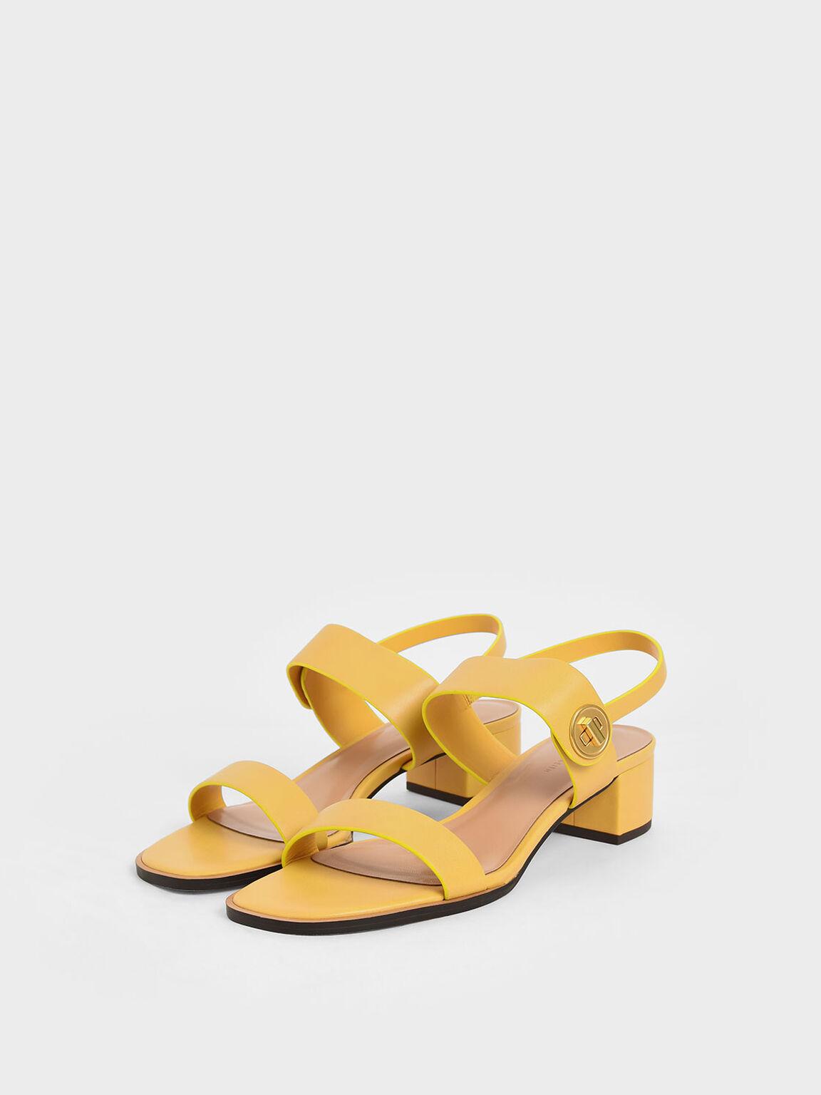 Open Toe Midi Block Heels, Mustard, hi-res