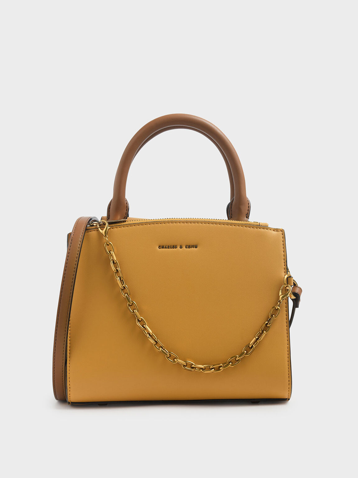 Chain Link Classic Handbag, Brown, hi-res