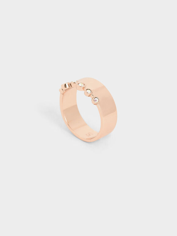 Swarovski® Crystal Studded Ring, Rose Gold, hi-res