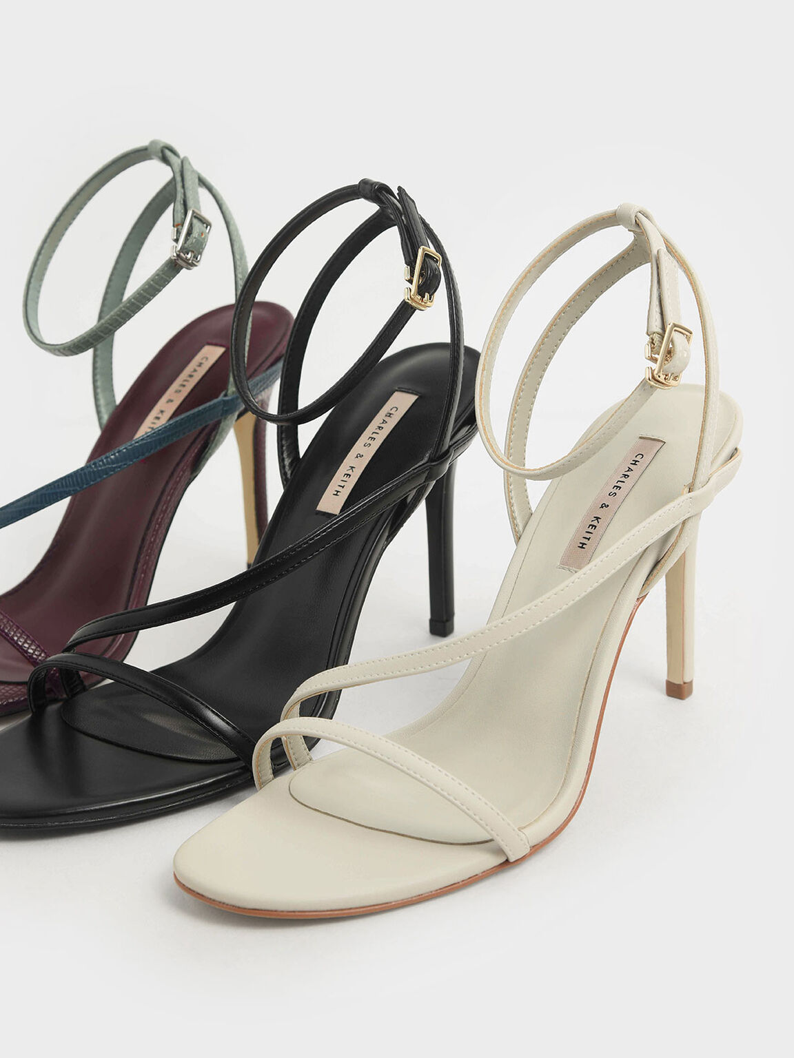 Snake Print Strappy Stiletto Heel Sandals, Multi, hi-res