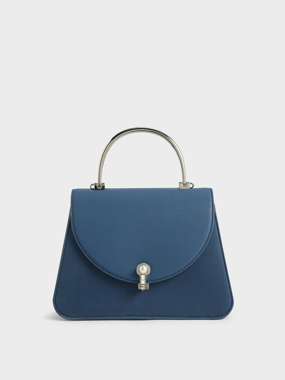 Textured Metal Top Handle Bag, Blue, hi-res