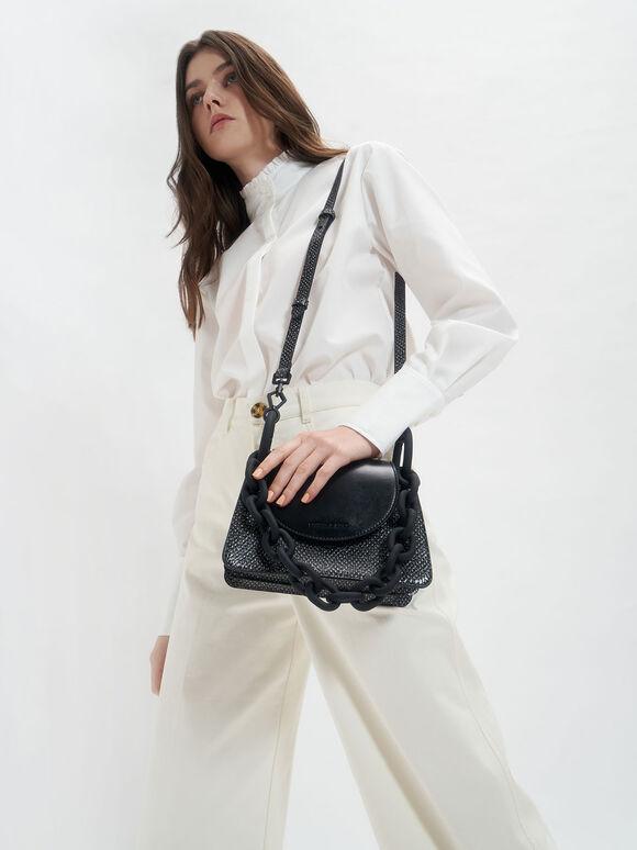 Animal Print Circular Flap Trapeze Bag, Black, hi-res