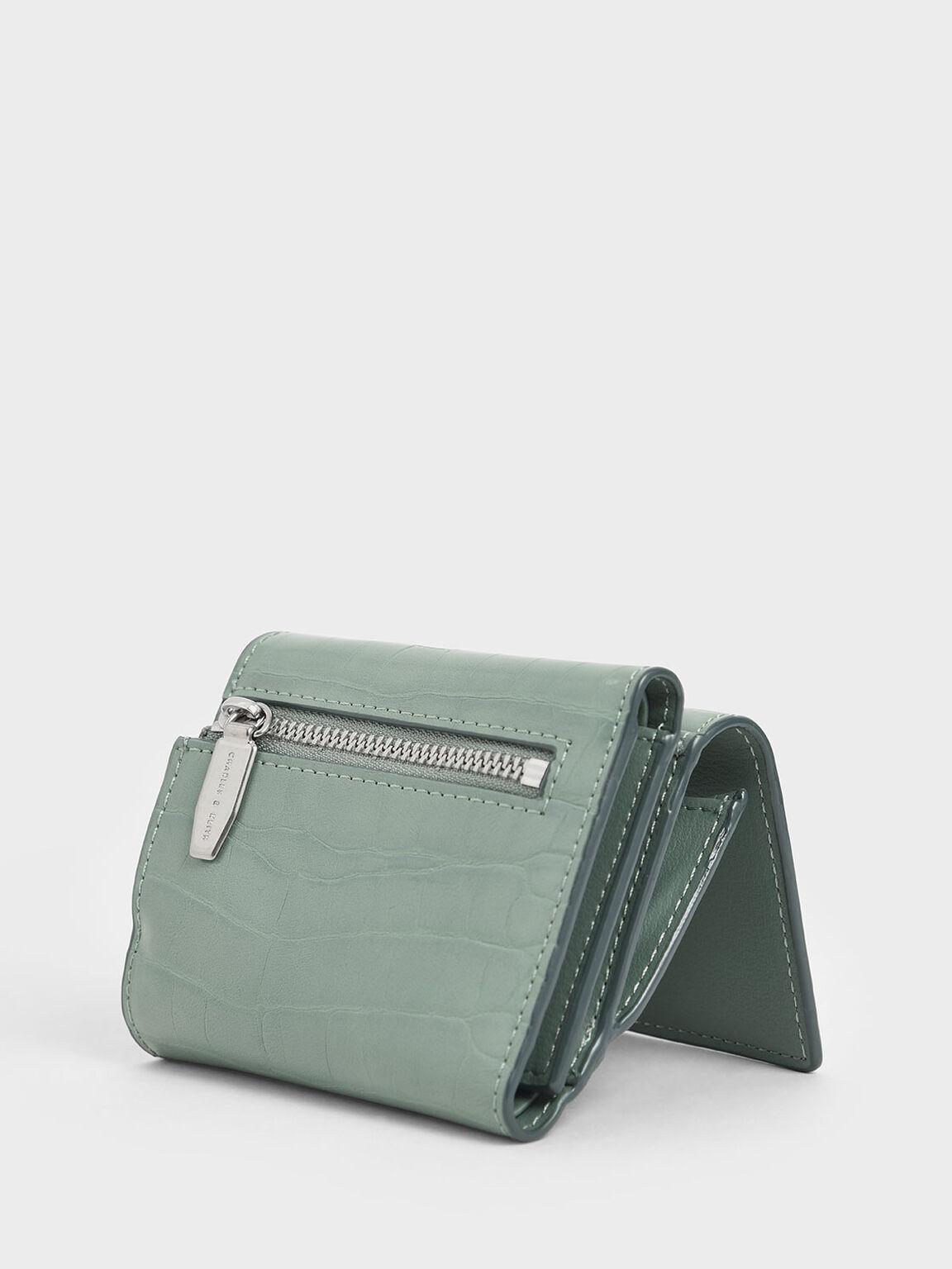 Croc-Effect Short Wallet, Sage Green, hi-res
