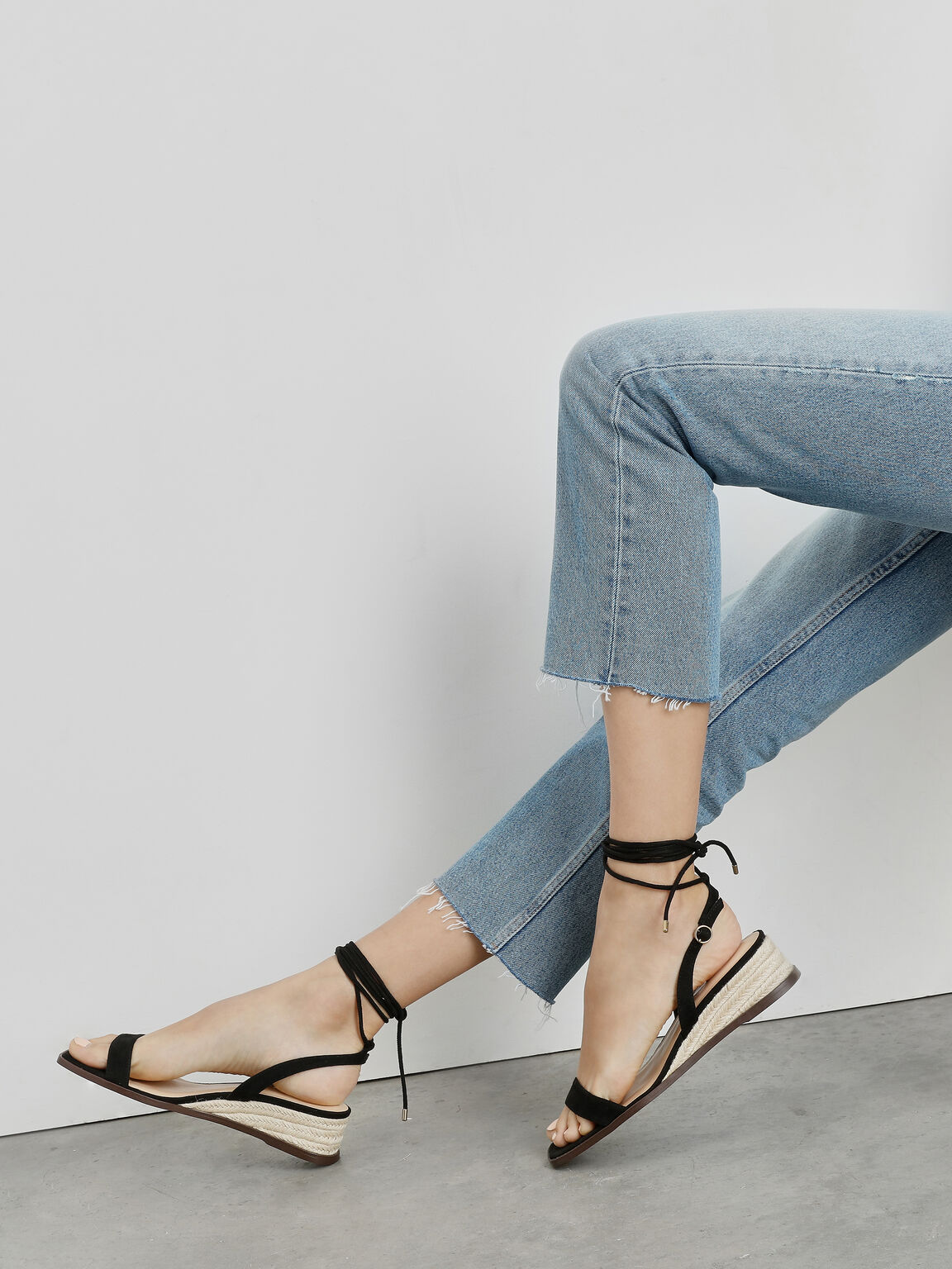 Strappy Espadrille Wedges, Black, hi-res