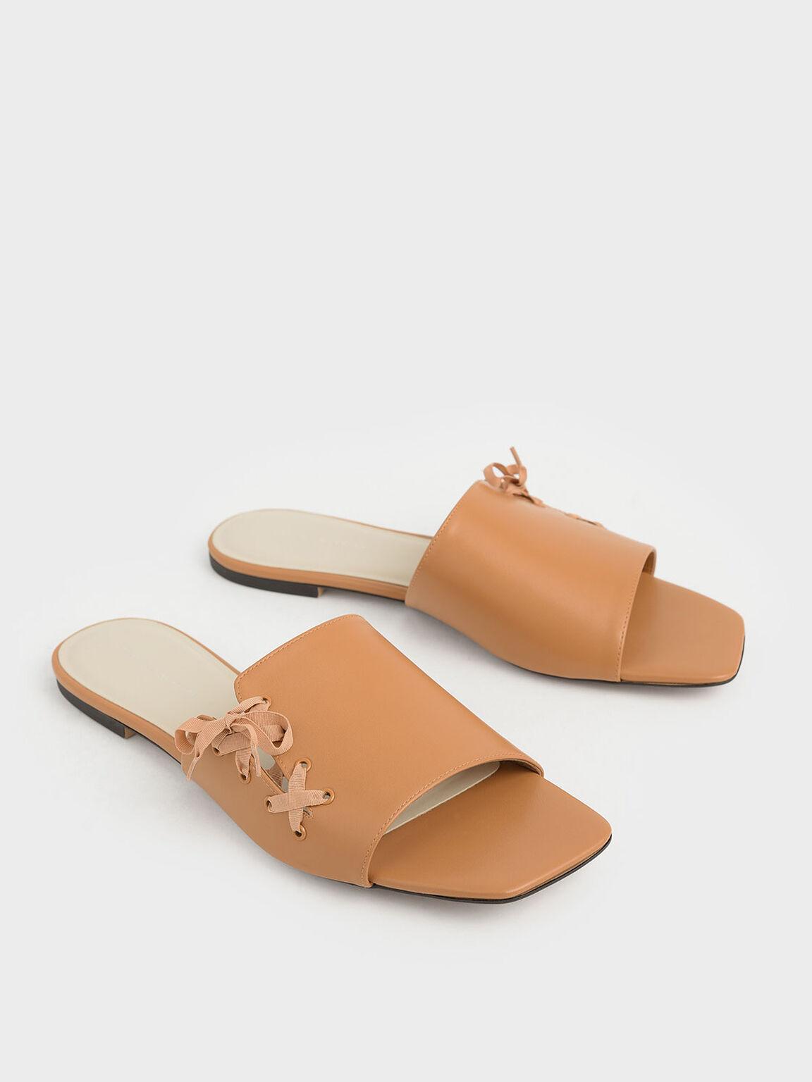 Ribbon Tie Slide Sandals, Orange, hi-res