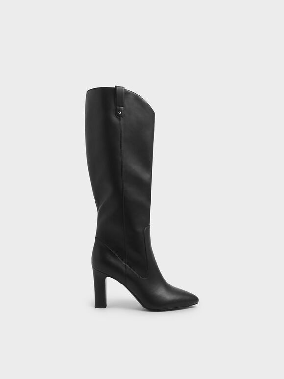 Chunky Heel Knee High Boots, Black, hi-res