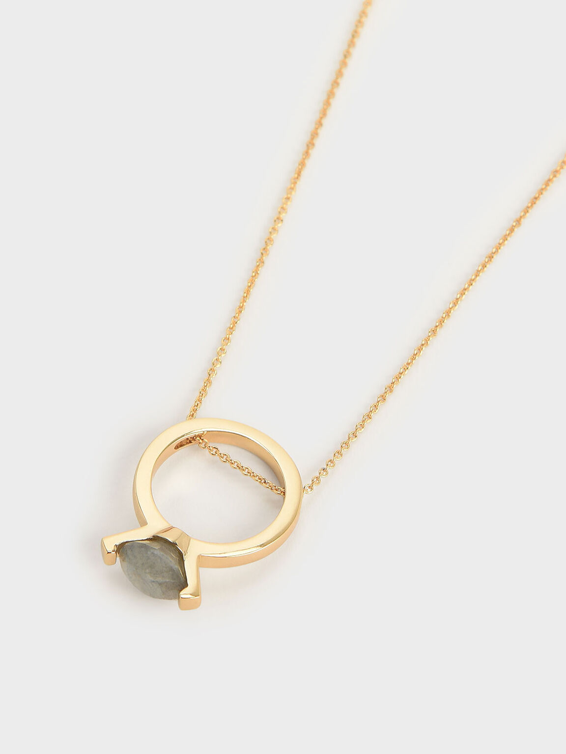 Labradorite Stone Ring Matinee Necklace, Gold, hi-res