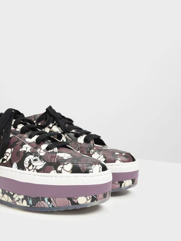 Printed Flatform Sneakers, Purple