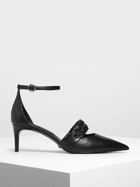 Weave Detail Leather D'Orsay Pumps, Black, hi-res